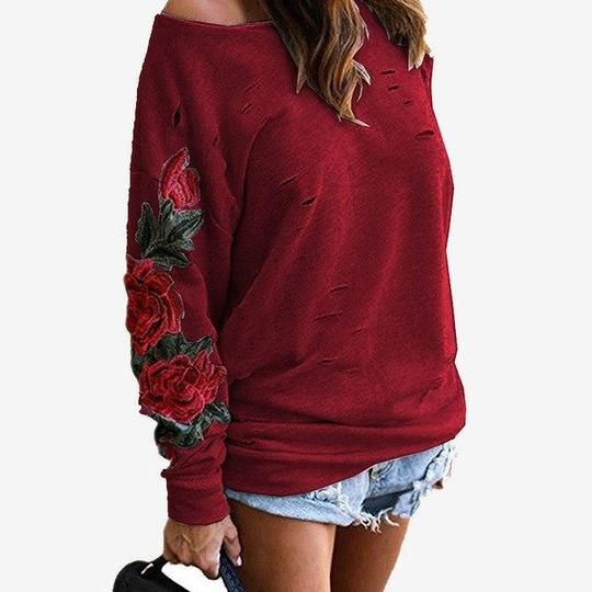 Ripped Embroidery Hole Women's Sweatshirt White Black Red