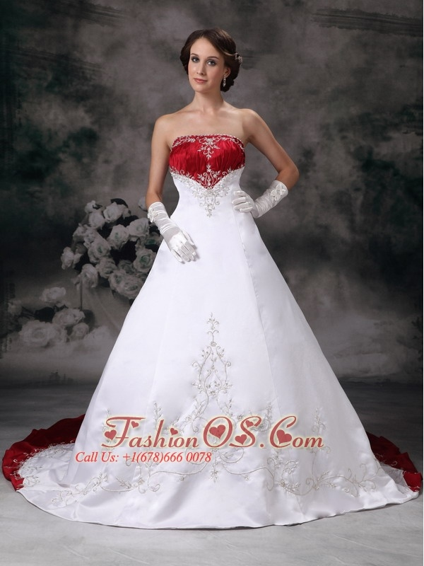 Customize A-line Strapless Wedding Dress Embroidery Satin Chapel Train- $226.89    http://www.fashionos.com  http://www.facebook.com/quinceaneradress.fashionos.us  All eyes will be on you if you choose this wedding dress! This new designed dress is made of high quality satin which make it wonderful and gorgeous. The big skirts are balanced with tiny, form-fitting bodice that highlights the bust and a feminine defined waist and contrasting red and white color bring a dramatic effect.