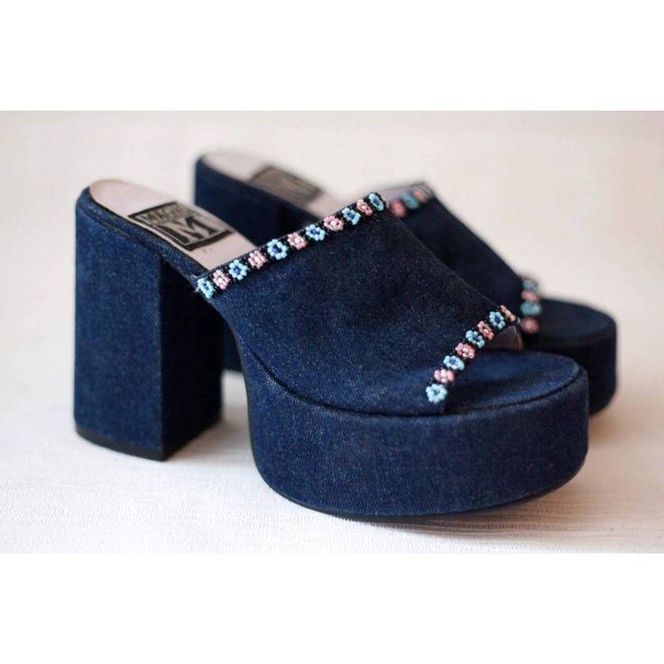 90s denim platform plateau heels / sandals / slip-on.  Beautifully decorated with flower beads .Size 36  #vintage #90svintage #heels #platform #platforms #90srave #chunky #grunge #etsyshopowner #etsy #90sshoes #90sheels #platformheels #90splatforms #beaded #denim #vintageshop #vintagedenim #denimheels #90's #style #fashion #bloggerstyle #chunkyheels #shoes