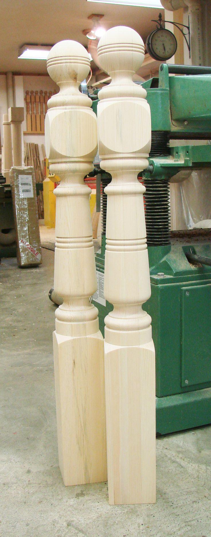 Custom design clear pine newel posts.