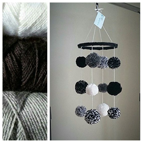 Black White and Grey Crochet Baby Mobile by CrochetCuddlerShoppe