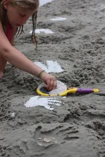 This easy craft will hold memories for years to come. Works perfectly any place you have sand, even the back yard. Make hand prints, foot prints or decorative hearts. Any imprint. :)