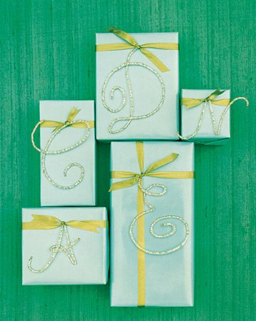 DIY    Beaded Letter Gift Toppers  A large, sparkling monogram is a beautiful way to personalize a special present.  How to Make the Beaded Letter Gift Toppers