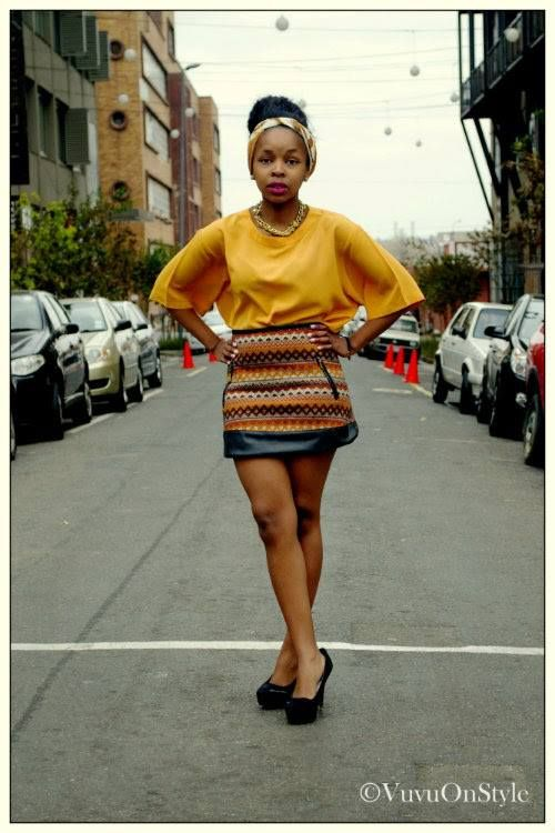 Colourful skirt yellow shirt street