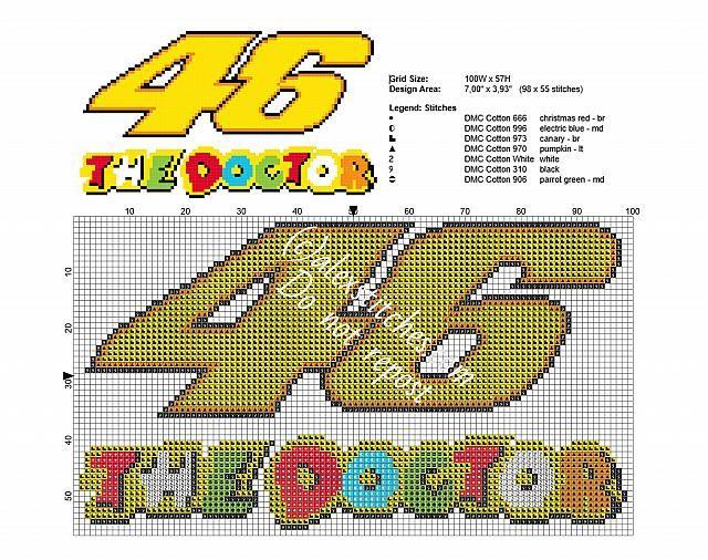 Valentino Rossi 46 The Doctor Moto GP logo free cross stitch chart