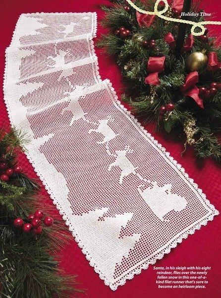 2014 Christmas Tree and Reindeer Crochet Table Runner Lace Pattern - Christmas Tree, Christmas Decor