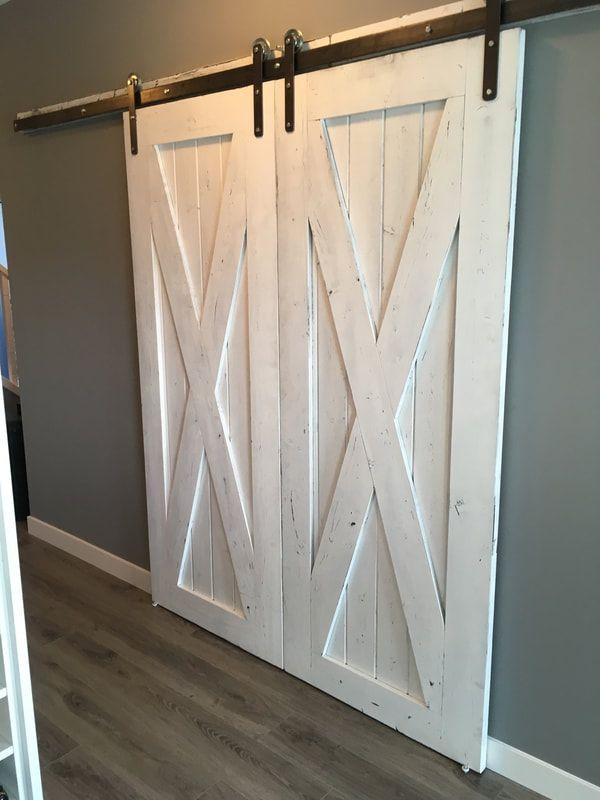 His Her Home Double Big X Doors In Weathered White Barn Doors