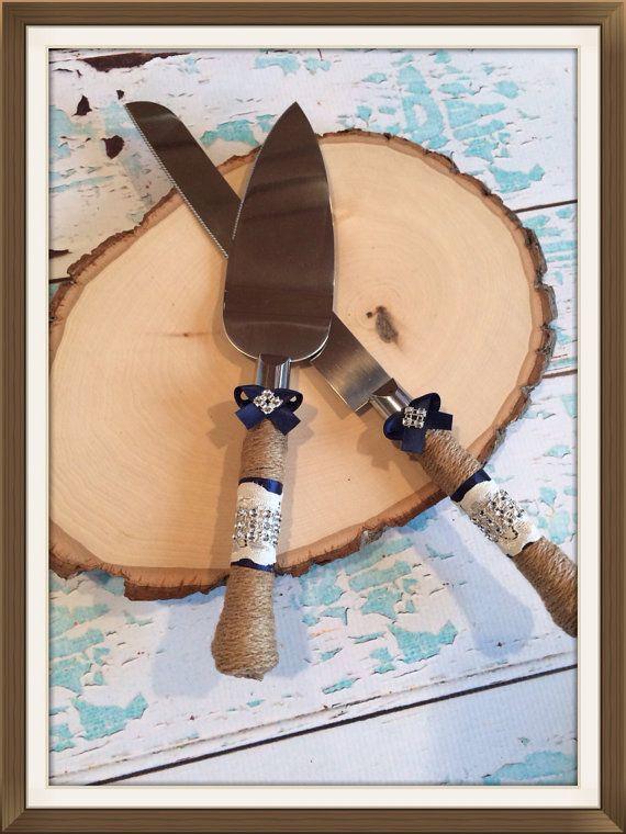 Just ordered these!! In mint of course :) Wedding cake knife set / burlap knife set / cake cutting set / rustic wedding / vintage lace wedding on Etsy, $29.99