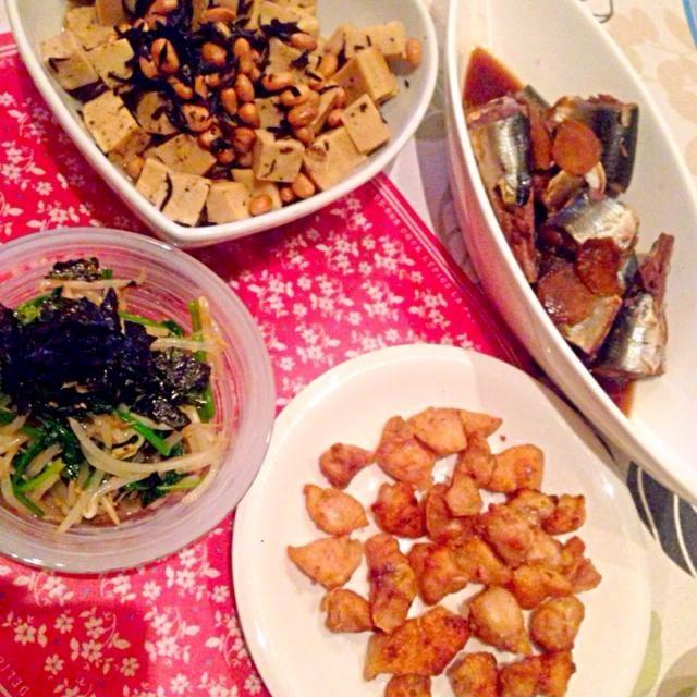 昨日の晩御飯、どれもイマイチでした(>_<) 久々の下手料理。 - 16件のもぐもぐ - 秋刀魚の生姜煮☆ぼんじり塩☆ひじきと高野豆腐の煮物☆もやしとほうれん草のナムル☆ by まるこ