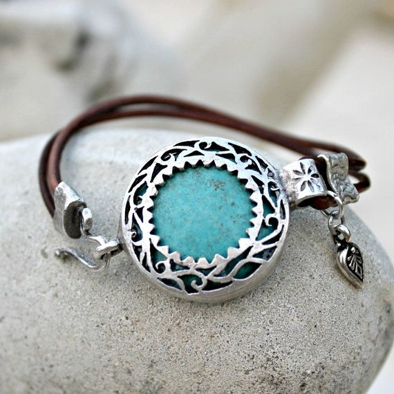 Bohemian Leather Bracelet  Silver Turquoise Gemstone by LunarBelle
