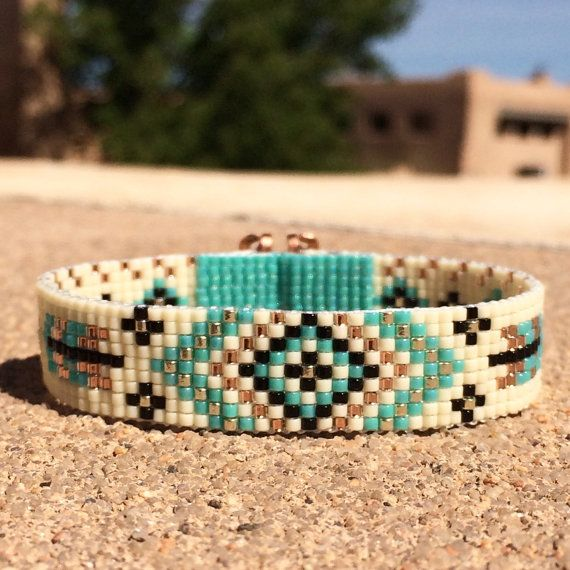 Turquoise Feathers Bead Loom Bracelet Bohemian Boho by PuebloAndCo