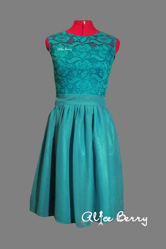 Long turquoise bridesmaid dress with a belt that is made from chiffon and lace.  Knee length is 95 centimeters (37,4 inches) Maxi length 150