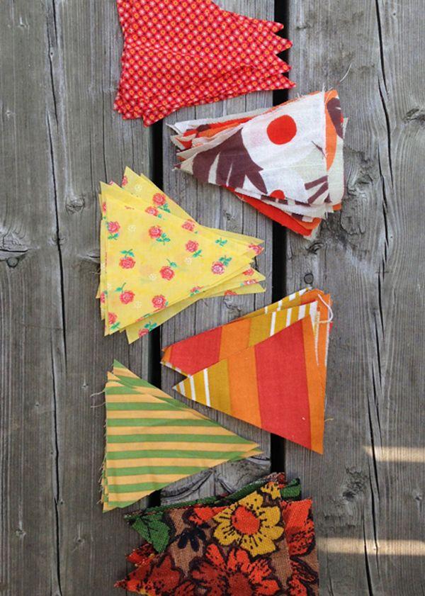 fabric scrap bunting / { DIY: patio party decor } | The Sweet Escape