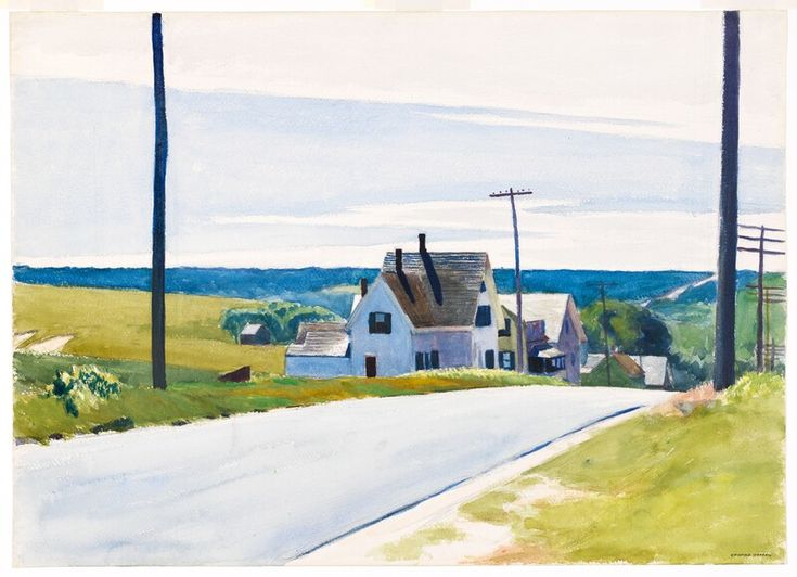"""High Road,"" Edward Hopper, 1931, watercolor and graphite pencil on paper, 20 × 27 15/16"", Whitney Museum of American Art."