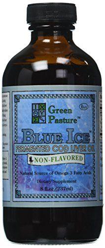 Green Pasture Blue Ice huile de foie de morue fermenté, non aromatisé: Source de vitamines A et D Complement 100% naturel Taux concentré…