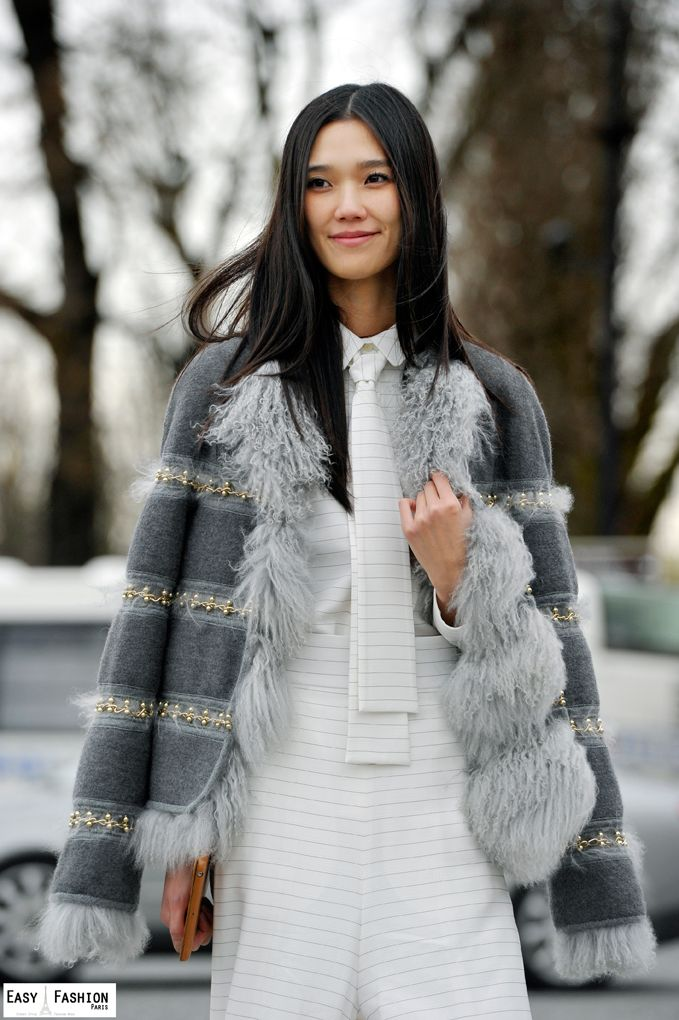 embellished fur over striped menswear /  Paris #streetstyle / #MIZUstyle