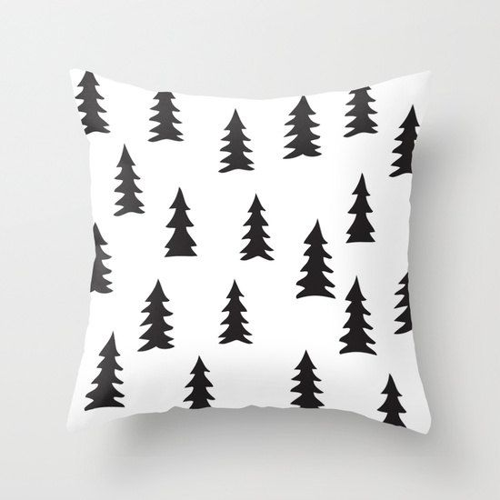 16x16 18x18 20x20 Decorative Pillow Cover: Pines, Trees, Forest, Black and White, Nordic, Modern, Minimalist, Scandinavian Pillow, Cushion