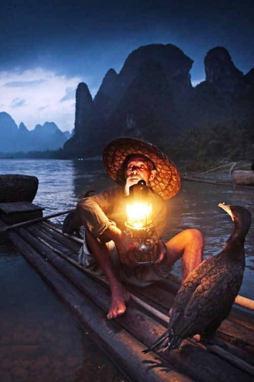 Old Fisherman and Cormorants, Guilin