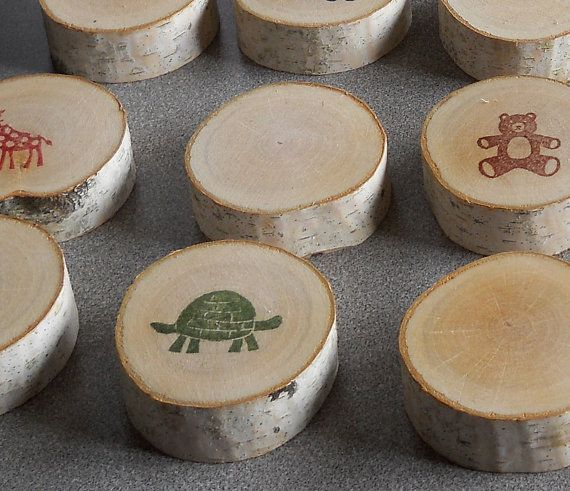 Memory game made out of birch log slices...fun gift for a toddler birthday!