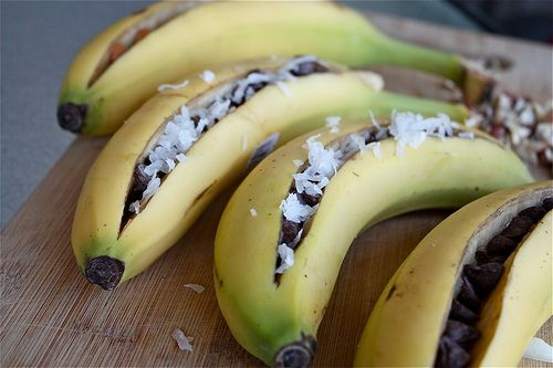 Grilled Banana Boats.  I've done this before, at like Girls Camp and LOVED it.  Wonder what the kids would think?