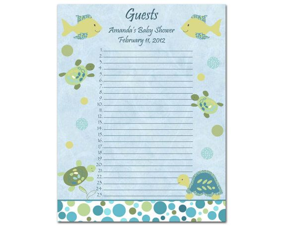 Personalized Cocalo Turtle Reef Baby Shower Guest By