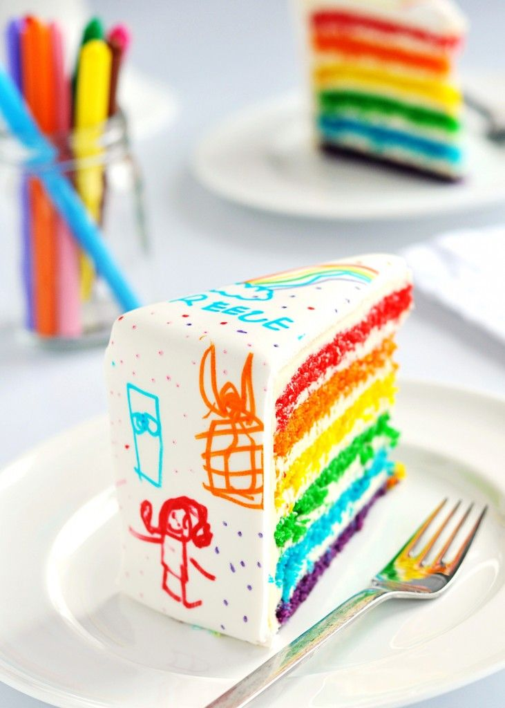 let the kids design the outside of their own cake! cover the buttercream Rainbow Cake with some white fondant, chill it overnight, and then draw using a pack of AmeriColor Food Colour Markers – a dream come true for an artsy and infinitely creative kid
