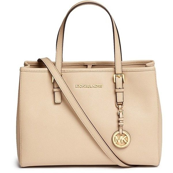 Michael Kors 'Jet Set Travel' medium saffiano leather east west tote ($375) ❤ liked on Polyvore featuring bags, handbags, tote bags, neutral, crossbody tote, crossbody purse, medium tote, michael kors handbags and travel purse