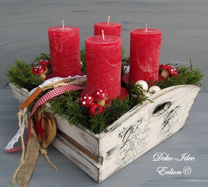 """Adventskranz Weihnachtsgesteck """"Landhaus rot/weiß"""" von Deko-Idee Eolion auf DaWanda.com"""
