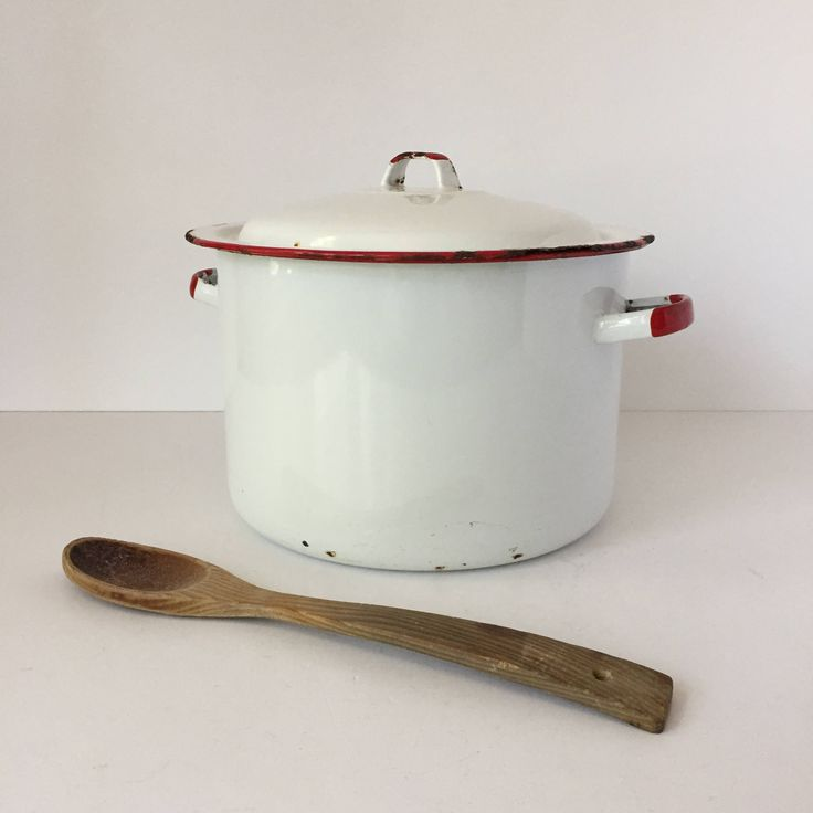 Large Enamel Stockpot with Lid, Vintage Red and White Enamelware, Chippy Pots and Pans, Farmhouse Cookware, Enamel Dutch Oven by AlegriaCollection on Etsy