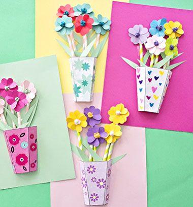 Easy spring or Mother's day flower bouquet card (free template) // Papír virágos anyák napi képeslapok egyszerűen (sablonnal) // Mindy - craft tutorial collection