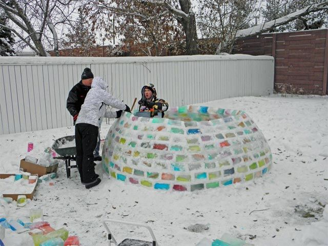 How to build a rainbow igloo. Not sure we'd ever drink that much milk!!!