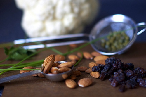 Cauliflower with almonds raisins and capers