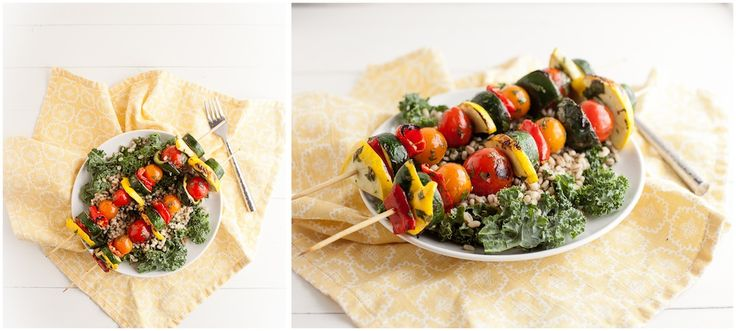 Cilantro-Lime Marinated Veggie Kabobs With Barley Kale Salad Recipes ...