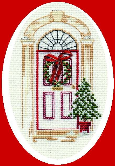 This beautiful Christmas Door cross stitch card kit is a great alternative to every day greetings cards.�Featuring a traditionally decorated fr...