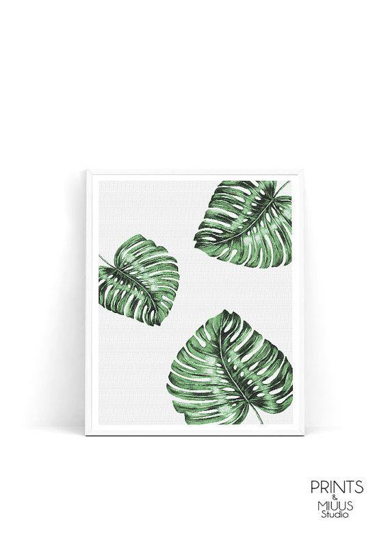 Palm leaf print monstera leaf botanical print by PrintsMiuusStudio