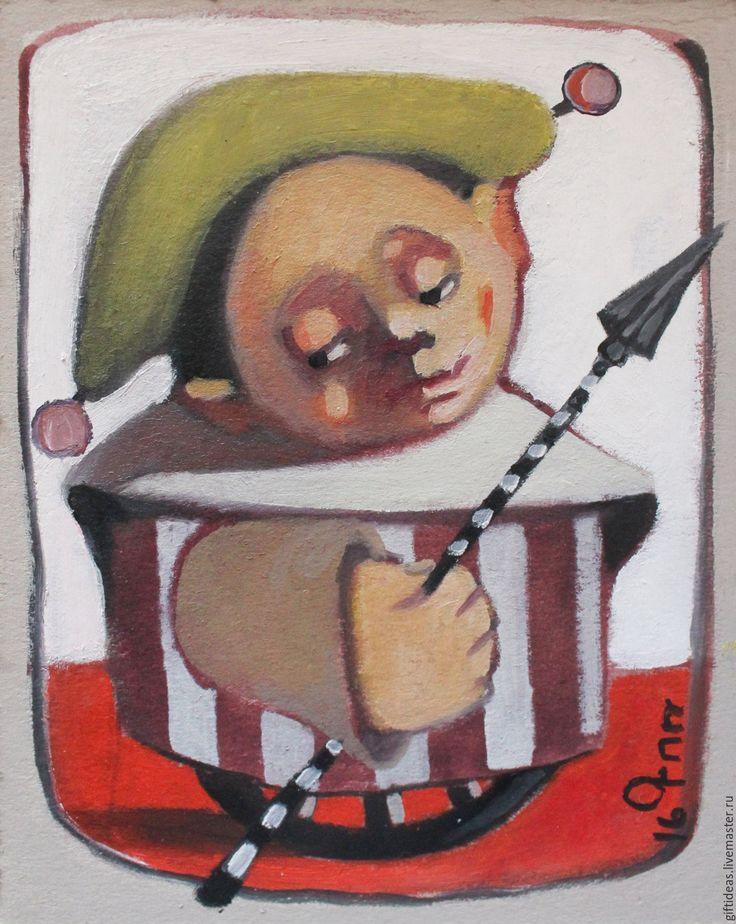 Купить Странник - кремовый, картина, искусство, Живопись, детский декор, картон, 4 мм