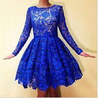 Горячие Продажа Royal Blue Lace Пром Платья Scoop Шеи Длинным Рукавом линии Короткие Вечерние Платья