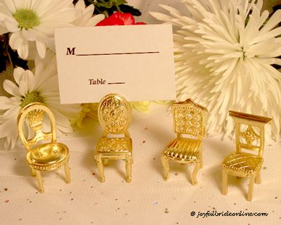 detailed matte gold chair shaped placecard holders come in four assorted chair designs an ideal