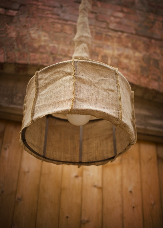 cool lamp idea to make? | Burlap lampshade, Diy chandelier ...