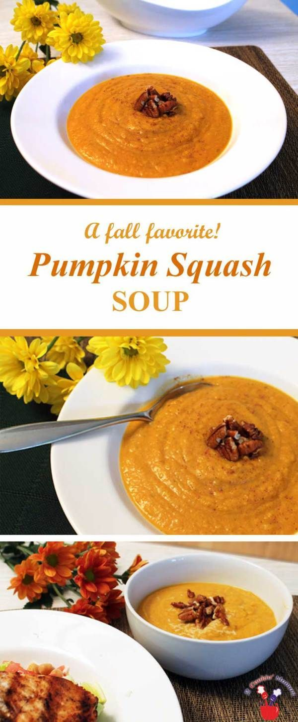 Pumpkin Squash Soup | 2 Cookin Mamas Pumpkin Squash Soup brings the aromas and feeling of fall right into your home. A combination of butternut squash, pumpkin and apple cider are spiced up with cinnamon & nutmeg that will delight the palate and warm the soul. #recipe #healthy