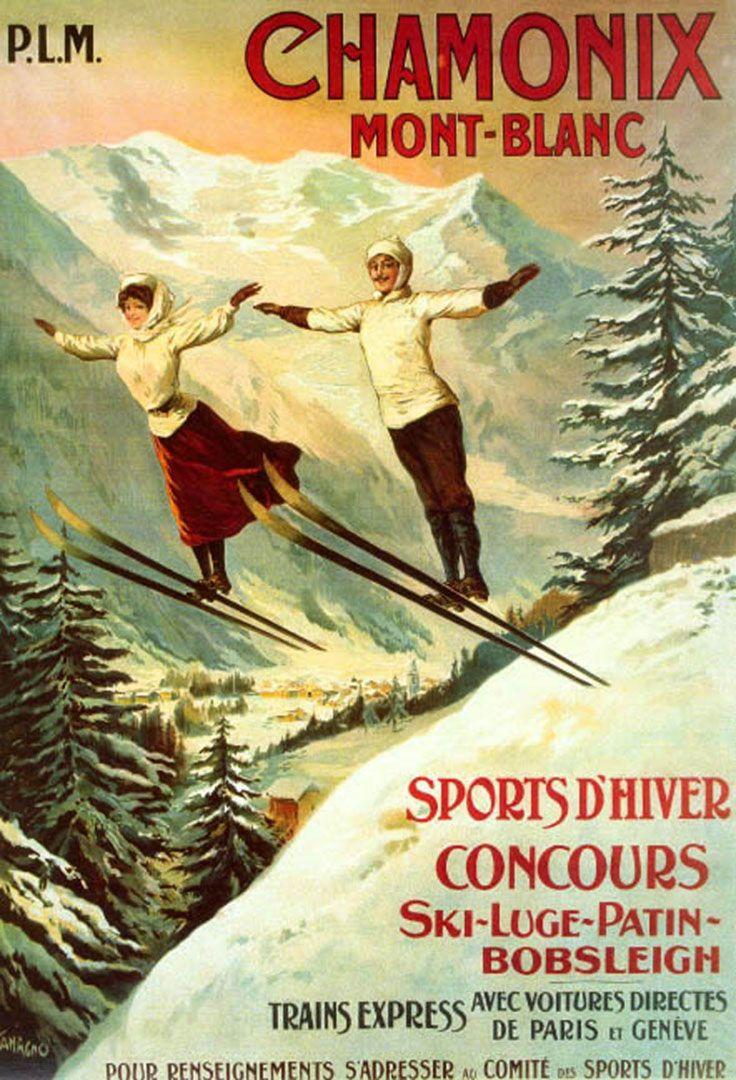 Chamonix And Mont Blanc - Vintage Ski Posters Wallpaper Image