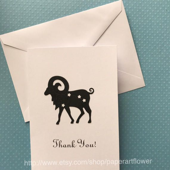 Ram Card, Thank You Note Card, Sheep Card, Stationery Set, Greeting Cards, White Thank You Cards, Ram Thank You Cards, Blank Note Cards by PaperArtFlower