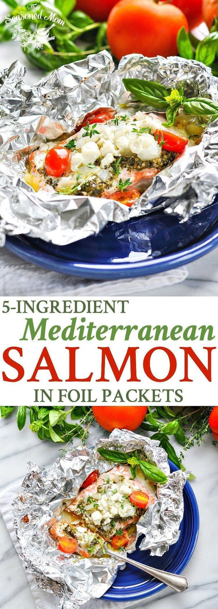 5-Ingredient Mediterranean Salmon in Foil Packets | Seafood Recipes | Easy Dinner Recipes | Dinner Ideas | Healthy 5 Ingredient or Less Recipes | Healthy Recipes | Salmon Recipes Baked | Camping Food | Camping Meals | Gluten Free #seafoodrecipes