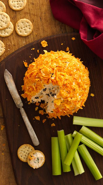 "Spice up your cheese ball recipe with a south-of-the-border twist! Not only is there a ton of spice and flavor mixed right in, the ball gets rolled in nacho-flavored tortilla chips. Yum! Plus, the whole thing only takes 15 minutes. Betty member Kcaylor says, ""Everybody loved the cheese ball. I will make it again but will have to make two!"""