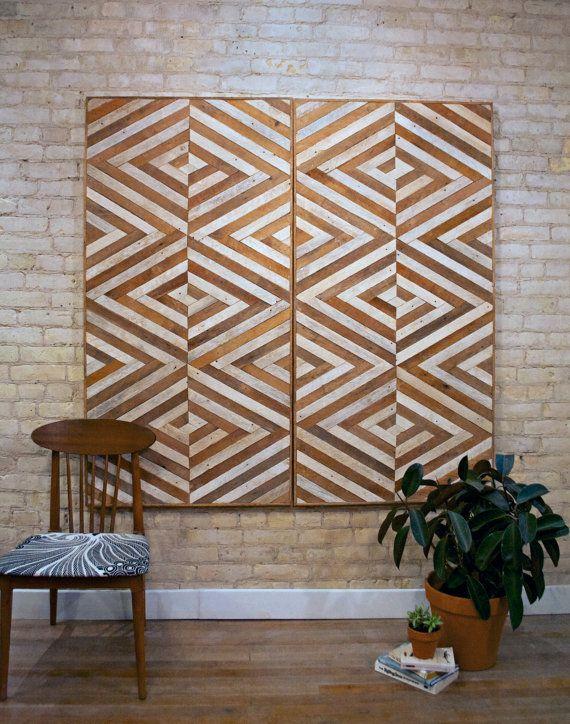 Recuperado arte de pared de madera cabecero de la reina