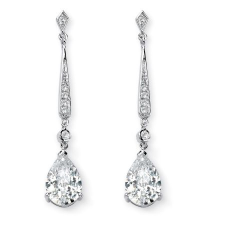 SETA JEWELRY 8.39 TCW Pear-Cut Cubic Zirconia Silvertone Drop Earrings at Seta Jewelry