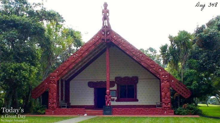 Day 348   Today's a Great Day to acknowledge Waitangi Day in New Zealand. At this very Marae (meeting house) and grounds in 1840 a document was signed that made New Zealand a part of the British Empire, guaranteeing Māori rights to their land and gave Māori the rights of British subjects. Because of a difference in translation between the Maori and English version, this has led to debate over exactly what was agreed to at Waitangi.