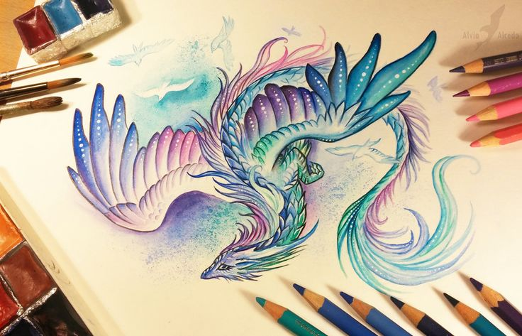 Yes, watercolors are  much easier for me, than  Promarkers^^' I can draw so many thin lines, as I want  (: Watercolors+watercolor pencils+pencils+inks+acrylics. Art © me Print o...
