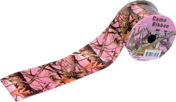 Thick 2.25 inch pink camo ribbon for making bows for decorations for your camo themed party, shower or wedding.