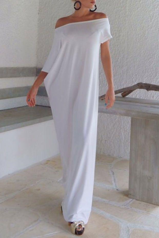 White Off-The-Shoulder Asymmetrical Maxi Dress